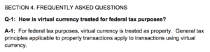 Crypto currency IRS tax document