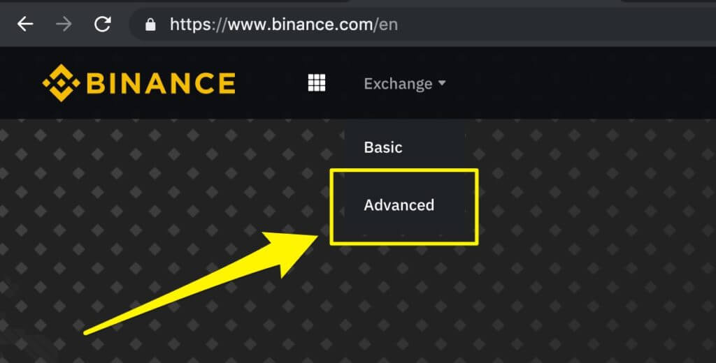 How to go to the advanced chart view on Binance